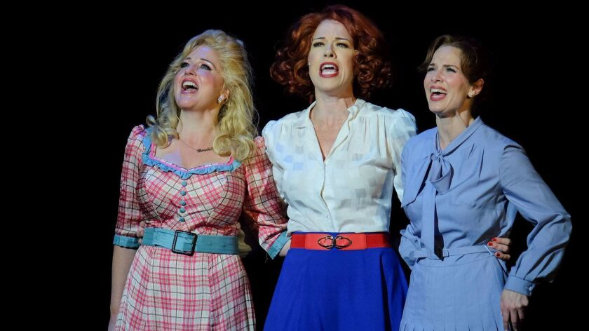 "Karyn Overstreet, left, Joy Yandell and Allison Spratt Pearce star in San Diego Musical Theatre's ""9 to 5: The Musical."""