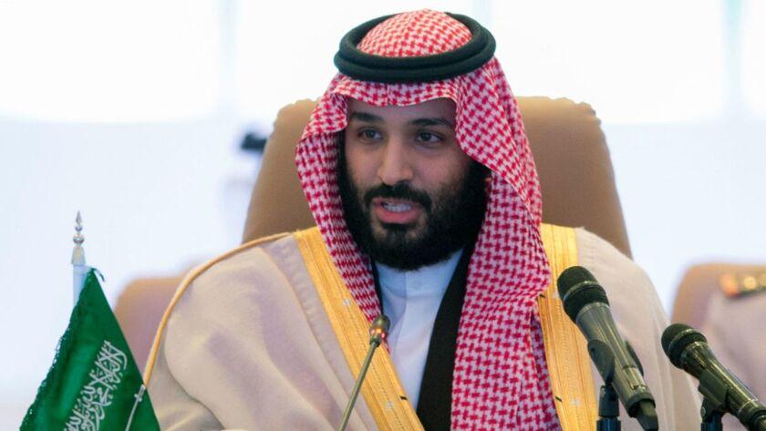 FILE - In this Nov. 26, 2017 file photo released by the state-run Saudi Press Agency, Saudi Crown Pr
