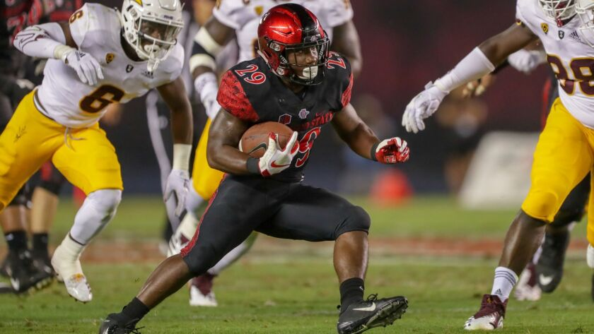 San Diego State running back Juwan Washington is expected to miss five games with fractured clavicle suffered in Saturday's win over Eastern Michigan.
