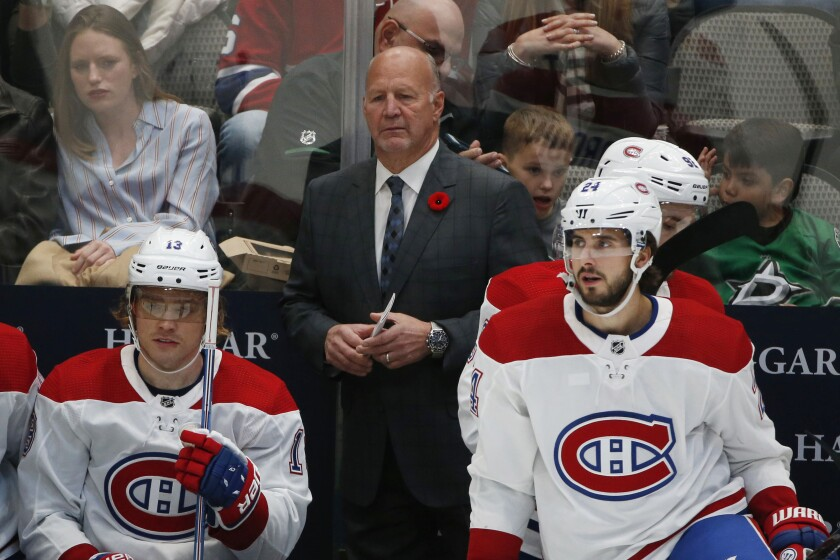 Montreal Canadiens coach Claude Julien watches his team play the Dallas Stars on Nov. 2.