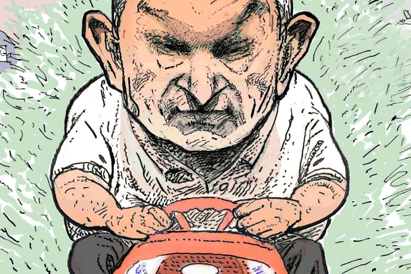 A caricature of Sen. Joe Manchin driving a lawn mower, which is a detail of a larger illustration.