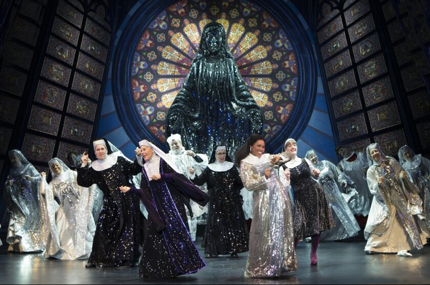 """The ensemble performs the finale in the national touring production of """"Sister Act,"""" playing through Aug. 4 at the San Diego Civic Theatre."""
