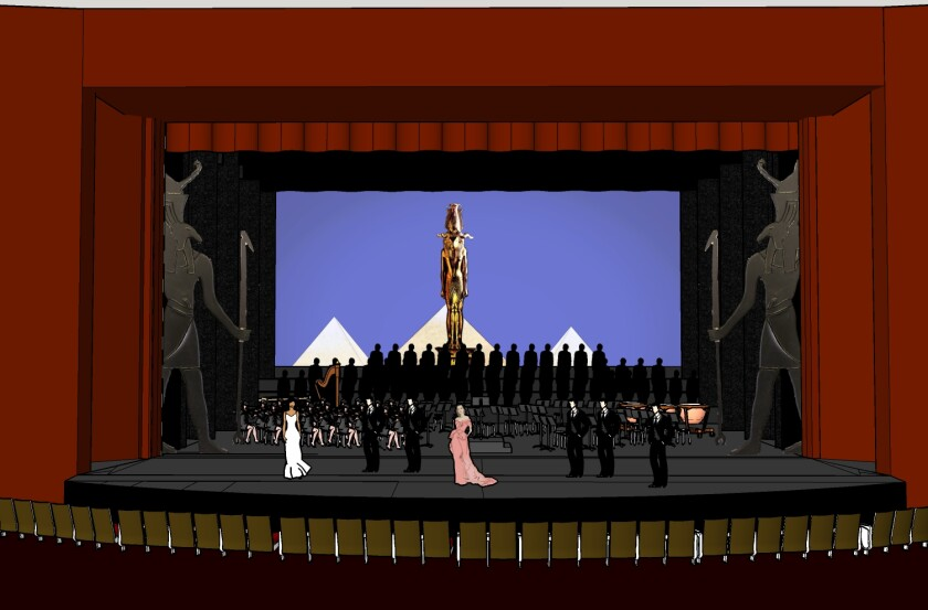 """Concept art for San Diego Opera's """"Aida"""" Theatrical Concert Opera playing Oct. 19-27, 2019, at the San Diego Civic Theatre."""