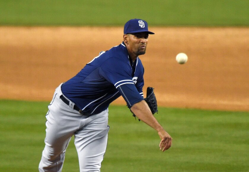 San Diego Padres starting pitcher Tyson Ross throws to the plate during the first inning of a baseball game against the Los Angeles Dodgers, Tuesday, April 7, 2015, in Los Angeles. (AP Photo/Mark J. Terrill)