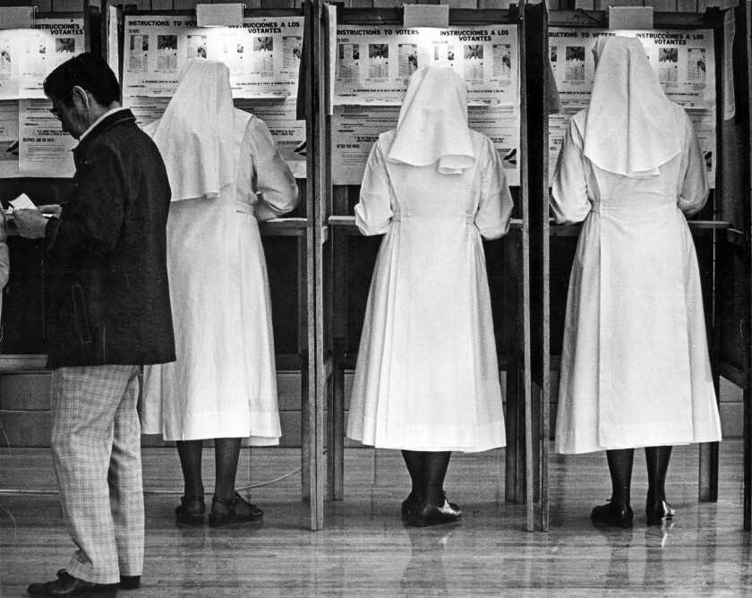 Nov. 2, 1976: Nuns from the Little Sisters of the Poor vote early in the morning at an East 1st Stre