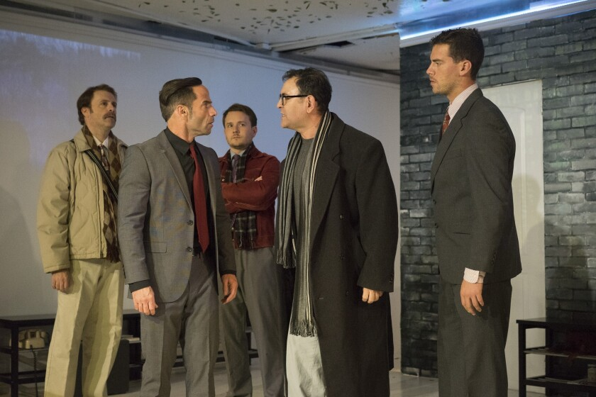 """Michael Lundy, Fred Hunting, Stuart Calhoun, Claudio Raygoza and Joel Miller (left to right) rehearse a scene from Ion Theatre's """"The Normal Heart."""""""