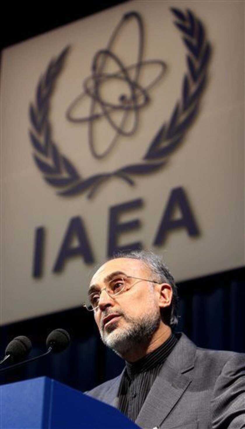 FILE- Head of Iran's Atomic Energy Organization Ali Akbar Salehi delivers a speech at the International Atomic Energy Agency, IAEA, in Vienna, Austria, in this file photo dated Monday, Sept. 20, 2010. Quoted Saturday Oct. 9, 2010, by the semiofficial Fars news agency, Iran's Ali Akbar Salehi seemed to confirm that Iran has been fighting espionage at its nuclear facilities, saying that personnel at the country's nuclear facilities were lured by promises of better pay to pass secrets to the West, but that increased security and worker privileges has put a stop to the spying. (AP Photo/Ronald Zak, file)