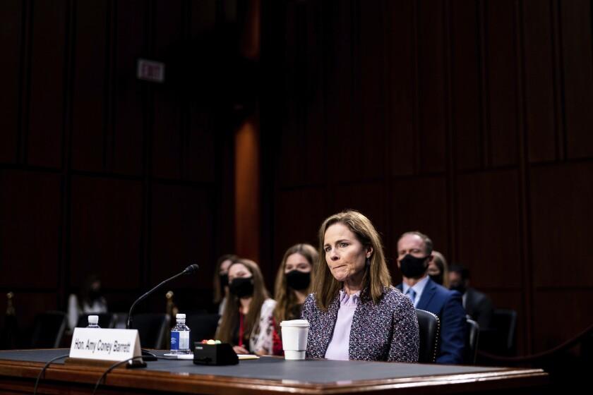 Supreme Court nominee Amy Coney Barrett before the Senate Judiciary Committee
