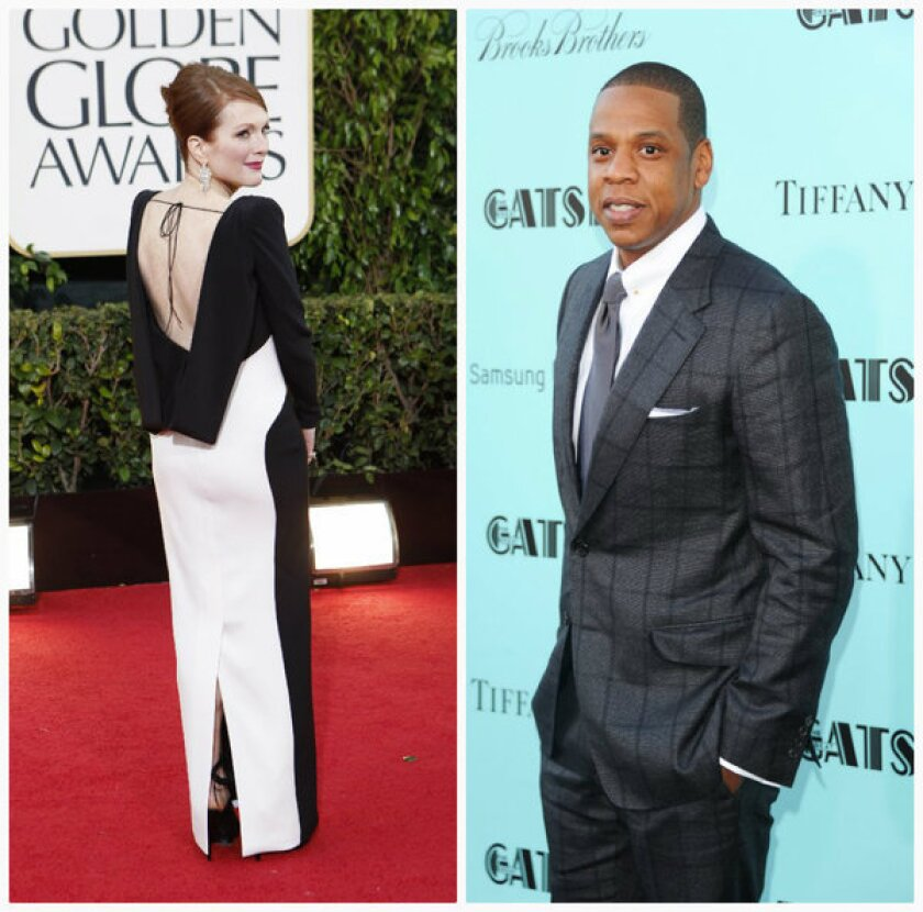 """Julianne Moore in Tom Ford on the Golden Globe's red carpet in January. At right, Jay Z in Tom Ford at the premiere of """"The Great Gatsby"""" in May. According to Yahoo, Web searches of the designer's name are up 155% over the last month and have spiked ninefold since 2012."""