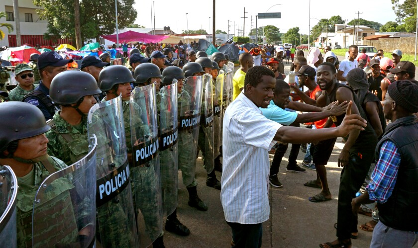 African migrants continue protests to demand free transit in Mexico, Tapachula - 19 Sep 2019