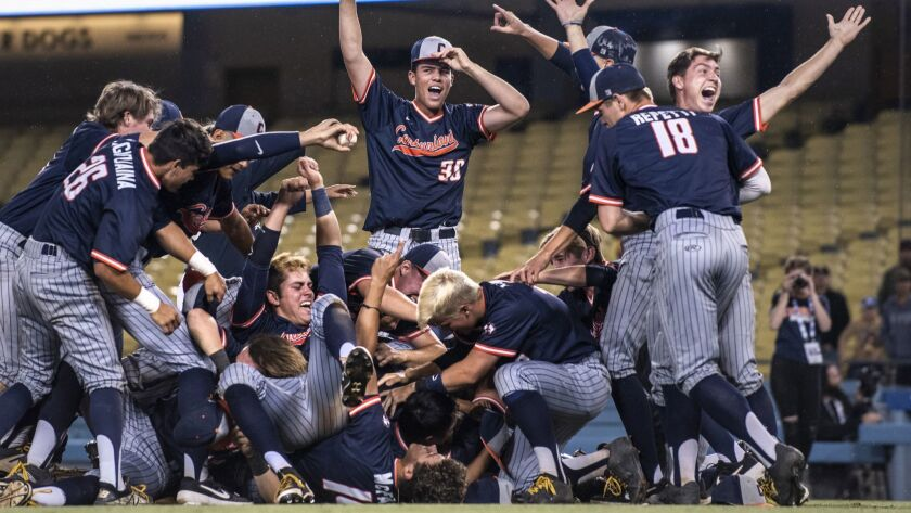 Cypress celebrates their victory over Harvard-Westlake during the Division 1 CIF Southern Section Ba