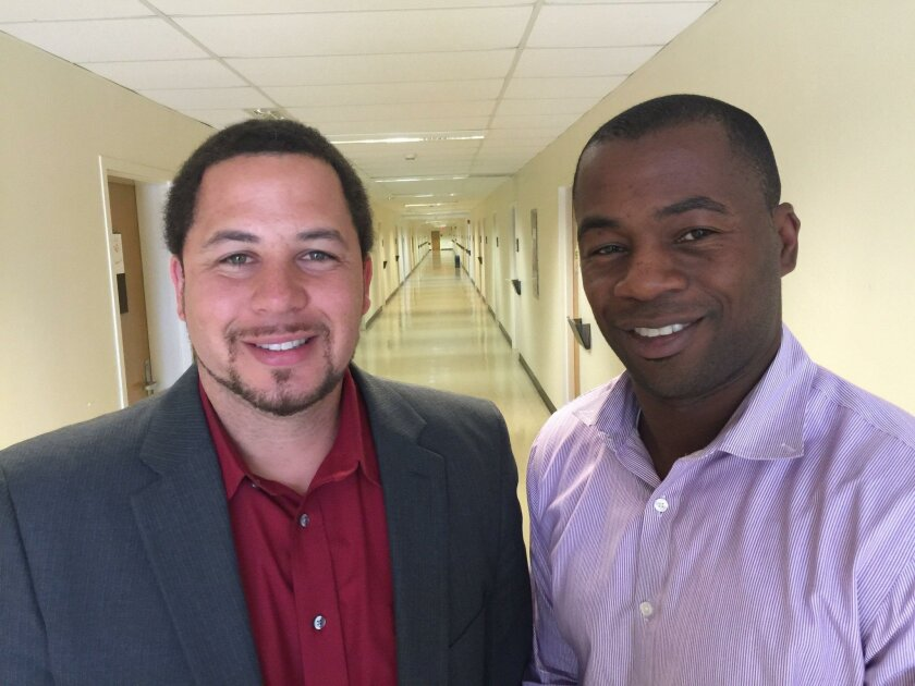 San Diego State University professors J. Luke Wood (left) and Frank Harris created an online course to help community college faculty members lower the achievement gap faced by men of color.
