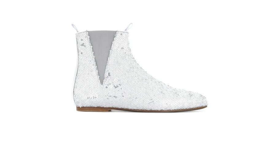 Loewe Loewe's silver sequined pointed flat-soled slipper go-go-boot 'Chelsea' pops a retro fee