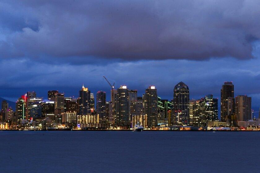 The San Diego skyline on Tuesday.