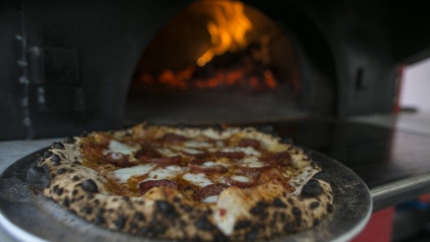 """A spicy """"pepperoni"""" pizza from Erik Vose, head chef and owner of Vivace Pizzeria food truck."""