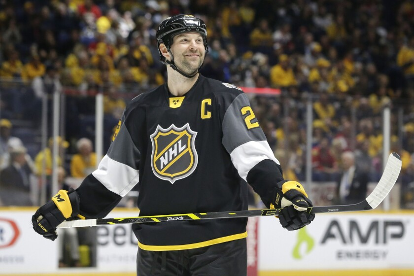 Pacific Division forward John Scott looks into the stands during the NHL All-Star game. The Pacific Division won 1-0 and Scott was named MVP.