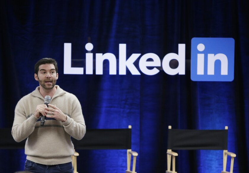 """FILE - In this Nov. 6, 2014 file photo, LinkedIn CEO Jeff Weiner speaks during the company's second annual """"Bring In Your Parents Day,"""" at LinkedIn headquarters in Mountain View, Calif. LinkedIn reports quarterly financial results on Thursday, April 30, 2015. (AP Photo/Marcio Jose Sanchez, File)"""