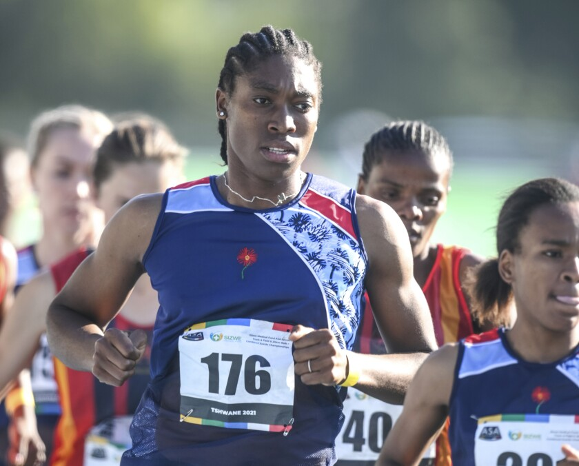 FILE — In this Thursday, April 15, 2021 file photo South African long distance athlete Caster Semenya on her way to winning the 5,000 meters at the South African national championships in Pretoria, South Africa, Olympic champion Semenya was sentenced to 50 hours of community service for speeding while driving in South Africa, prosecutors said Wednesday May 12, 2021. (AP Photo/Christiaan Kotze/File)