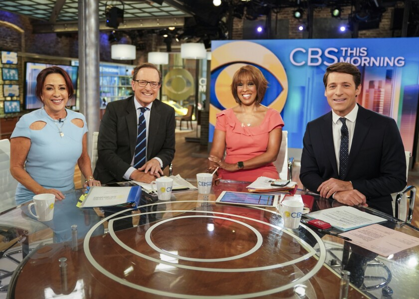 """""""CBS This Morning"""" co-hosts Gayle King, Anthony Mason and Tony Dokoupil interview Patricia Heaton (far left) in 2019."""