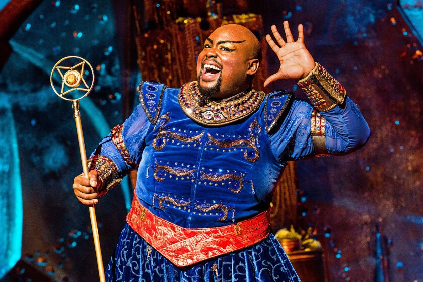 """Major Attaway stars as the Genie in the national tour of """"Disney's Aladdin,"""" playing at Segerstrom Center starting Wednesday."""