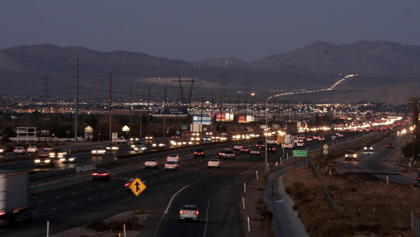 A view of the 15 Freeway to the north through Hesperia and Victorville.