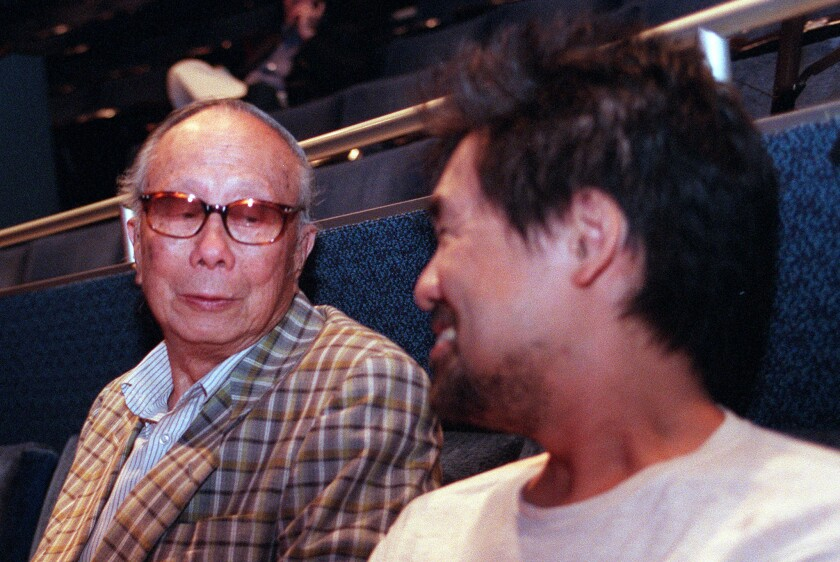 C.Y. Lee and David Henry Hwang at 2001 'Flower Drum Song' rehearsal at the Taper