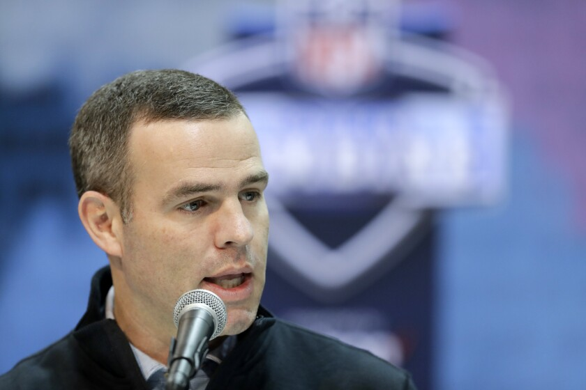 FILE - In this Feb. 28, 2019, file photo, Buffalo Bills general manager Brandon Beane speaks during a press conference at the NFL football scouting combine in Indianapolis. The heavy lifting is hardly done for Beane after the Bills general manager completed making much-needed upgrades to Buffalo's pass rush, and restocking the roster's depth at the NFL draft this weekend (AP Photo/Darron Cummings, File)