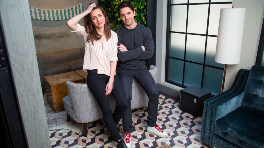 """""""Rough Night"""" co-writers Lucia Aniello, left, and Paul W. Downs are photographed at the Gordon Bar in Sixty SoHo Hotel in New York City."""