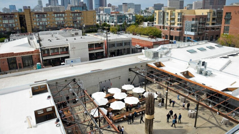 More than 700 artists will gather Sunday morning in Hauser Wirth & Schimmel's courtyard, pictured here from the gallery rooftop shortly after it's opening to the public in the Arts District.