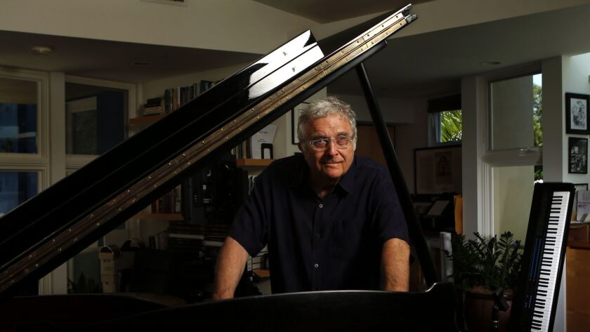 Veteran singer-songwriter-composer Randy Newman, photographed at his home studio in Pacific Palisades in 2017, will perform songs spanning his 50-year career on Sunday, Aug. 12, at the Hollywood Bowl.