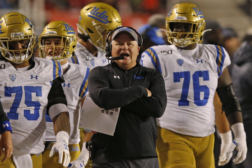 UCLA coach Chip Kelly looks on in the second half during an NCAA college football game against Utah Saturday, Nov. 16, 2019, in Salt Lake City.