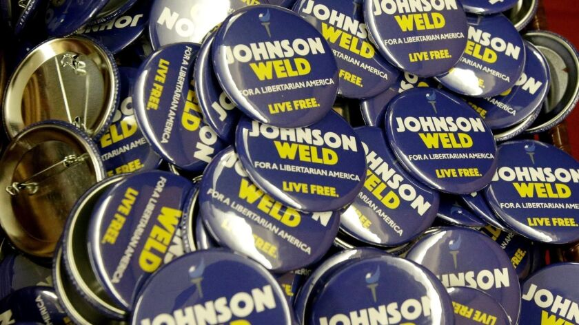 Campaign buttons for Libertarian presidential candidate Gary Johnson and vice presidential candidate