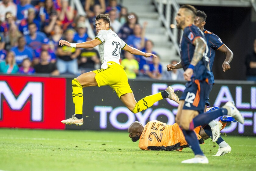 Miguel Berry playing for the Columbus Crew earlier this month.