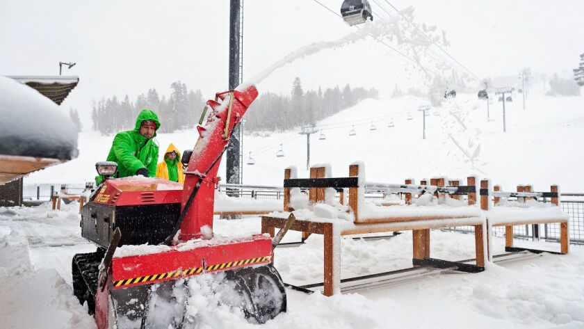 Snow is cleared away at the Mammoth Mountain resort on Nov. 16 in Mammoth Lakes, a week after the resort opened. Last season, the second longest in resort history, lasted until Aug. 6.