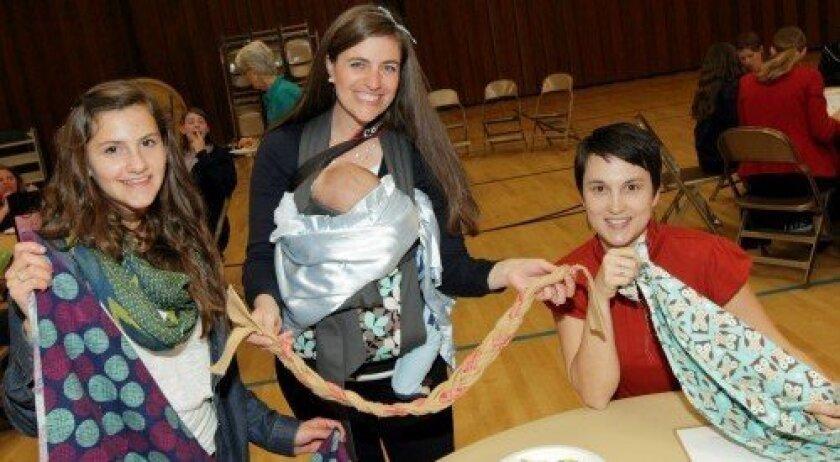 Rosie McFadden, Samantha Floyd with baby Sawyer, Danielle Barker