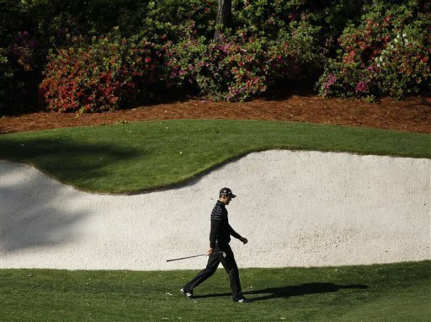 Martin Kaymer of Germany walks to the 13th green during a practice round for the Masters golf tournament Tuesday, April 5, 2011, in Augusta, Ga. (AP Photo/Matt Slocum)