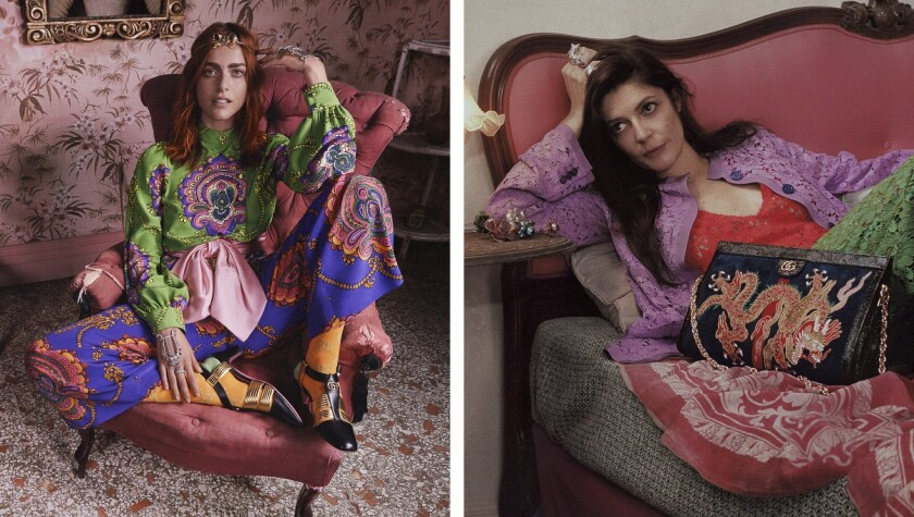 Italian actress Miriam Leone, left, and Chiara Mastroianni, right, starring in Gucci's cruise 2018 a