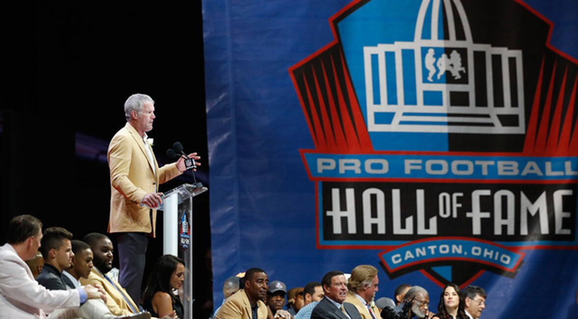 Brett Favre, former NFL quarterback, speaks during his 2016 Class Pro Football Hall of Fame induction speech during the NFL Hall of Fame Enshrinement Ceremony at the Tom Benson Hall of Fame Stadium on August 6, 2016 in Canton, Ohio.