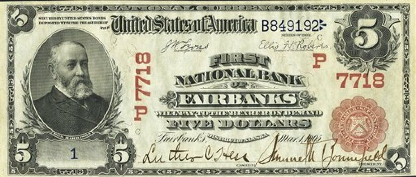 This photo provided by Heritage Auctions shows the front of a 1905 $5 bill. A Dallas auctioneer is about to offer a $5 bill presented in 1905 to Vice President Charles W. Fairbanks _ Theodore Roosevelt's No. 2 _ from the First National Bank of Fairbanks, Alaska. (AP Photo/Heritage Auctions)