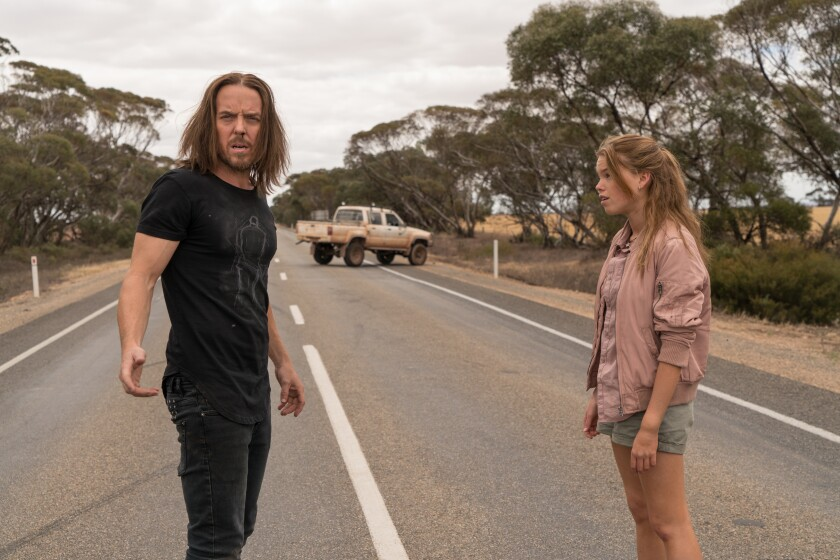 """Tim Minchin and Milly Alcock in a scene from the Sundance Now series """"Upright."""""""