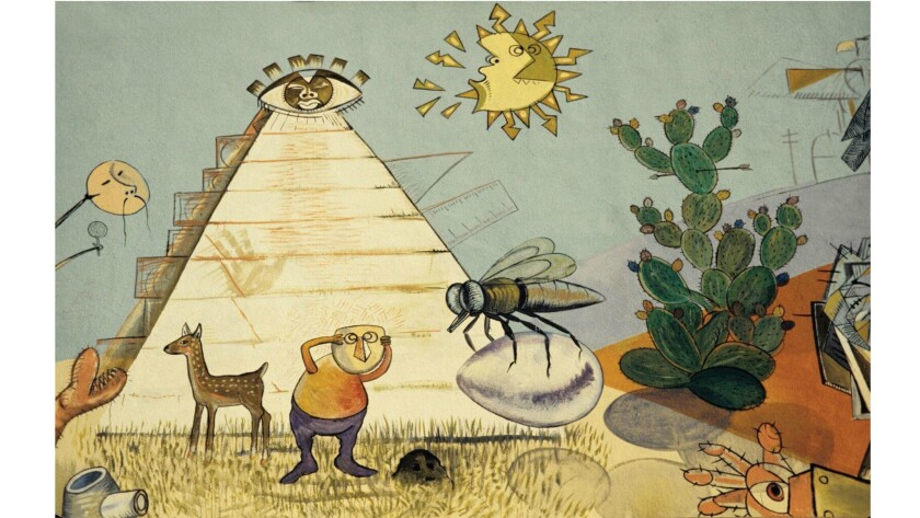 """Detail of Roberto Chavez's """"The Path to Knowledge and the False University."""""""