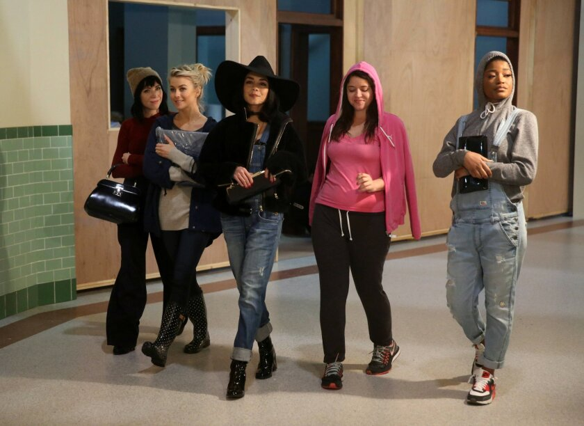 """This image released by Fox shows, from left, Carly Rae Jepsen, Julianne Hough, Vanessa Hudgens, Kether Donohue and Keke Palmer during a rehearsal for, """"Grease:Live,"""" airing Sunday, Jan. 31, at 7p.m. (Kevin Estrada/FOX via AP)"""