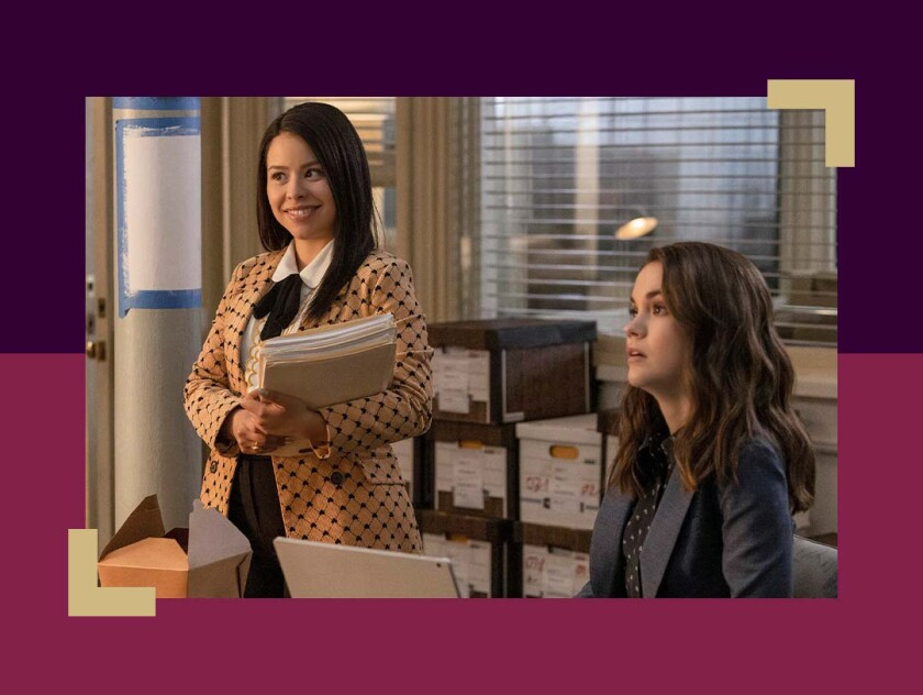 """Cierra Ramirez and Maia Mitchell look at something off-camera in a scene from the show """"Good Trouble."""""""