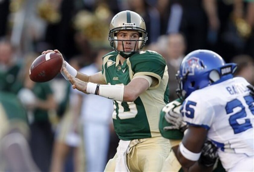 UAB quarterback Bryan Ellis (10) looks for a receiver against Memphis during the first half of an NCAA college football game on Saturday, Nov. 20, 2010, in Birmingham, Ala. (AP Photo/Butch Dill)