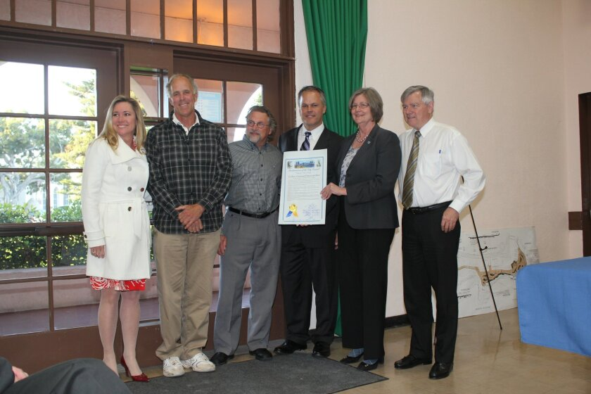 From left: Village Merchants Association Executive Director Rosemary Murrieta; Historical Society board president Tom Grunow and the society's interim executive director, Trip Bennett; Concours d'Elegance committee chairman Mike Dorvillier; City Councilwoman Sherri Lightner; and La Jolla Town Counc