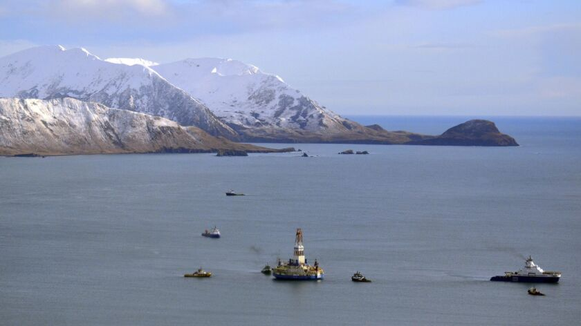 FILE - This Jan. 7, 2013 file photo shows the floating drill rig Kulluk in Kodiak Island, Alaska's