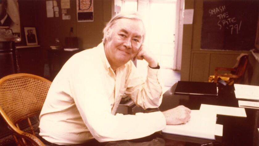 """Daniel Patrick Moynihan at his desk, Pindars Corners, N.Y., c. 1979, from the documentary """"Moynihan."""""""