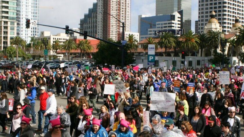 Thousands march along Harbor Drive during the San Diego Women's March which started at Civic Center Plaza next to San Diego City Hall and finished at the San Diego County Administration Center.