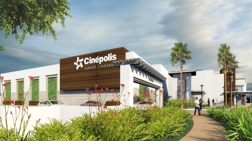 Rendering of the new Del Mar Highlands parking garage, and the expanded Cinepolis.
