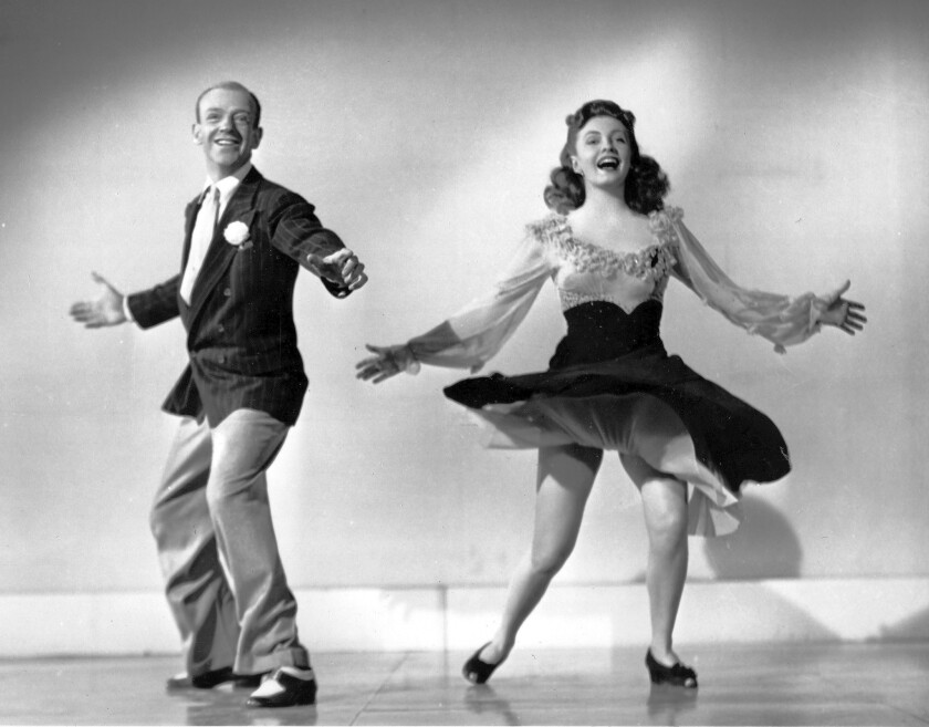 "Joan Leslie and co-star Fred Astaire perform a dance routine from the 1943 movie ""The Sky's the Limit."""